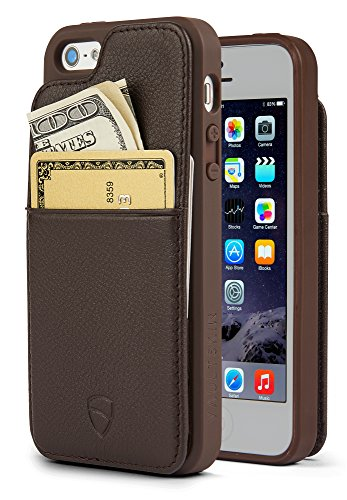 iPhone SE / 5S Case, Vaultskin Eton Armour iPhone SE / 5S Case Wallet, Slim, Minimalist Genuiner Leather Case - Holds up to 8 Cards/Top Grain Leather (Brown) (Iphone 5s Top Cases)