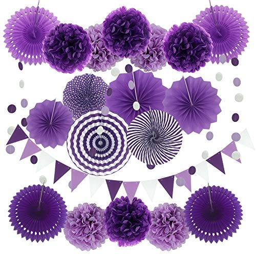 Zerodeco Party Decoration, 21 Pcs Purple and Lavender Hanging Paper Fans, Pom Poms Flowers, Garlands String Polka Dot and Triangle Bunting Flags for Birthday Parties, Bridal Showers, Baby Showers, Wedding, Mermaid Party ()