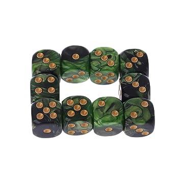 Amazon.com : CONtenct 10 Pcs 16mm Resin Dice D6 Black Green ...
