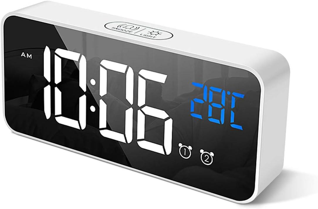 HOMVILLA Reloj Despertador Digital con Pantalla LED de Temperatura, Alarma de Espejo Portátil con Alarma Doble Tiempo de Repetición 4 Niveles de Brillo Regulable Dimmer 13 Música Luz Despertadors USB