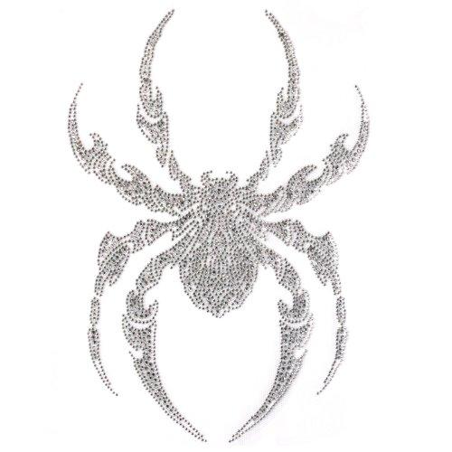 (Rhinestone Transfer Hot Fix T-shirt Clothing Crafts Fashion Motif Tattoo Silver Spider Design 1 Sheets 7.8 * 11.4 Inch)