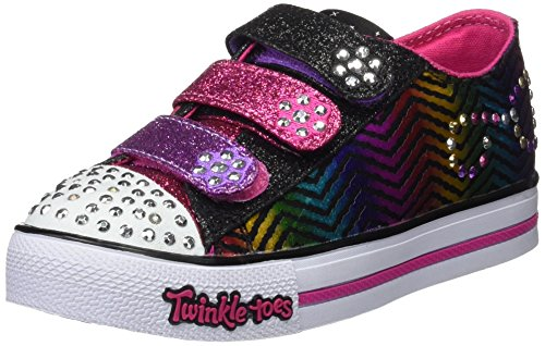 Skechers Girls Twinkle Toes Step Up Sparkle Spice Sneaker,Black/Hot Pink,US 2 M