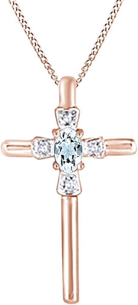 AFFY Collar con colgante de cruz de imitación de aguamarina y diamante natural en oro sólido de 14 quilates