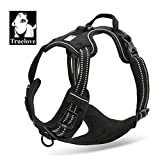 TrueLove Dog Harness TLH5651 No-pull Reflective Stitching Ensure Night Visibility, Outdoor Adventure Big Dog Harness Perfect Match Puppy Vest (Black,XL)