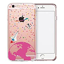 iPhone 6S Case, SwiftBox Clear Case with Design for iPhone 6/6S with Tempered Glass Screen Protector (Colorful Stars and Astronaut)