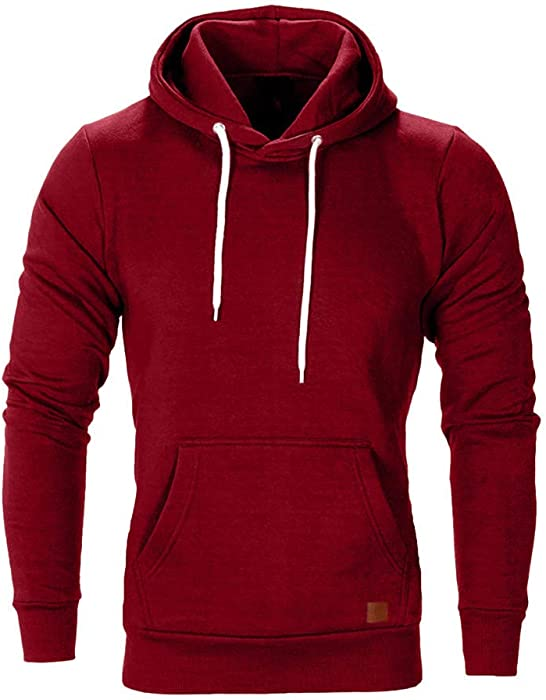 34b0961b4 Dressin Big Mens Solid Casual Hoodie Autumn Winter Top Tracksuit with Pocket