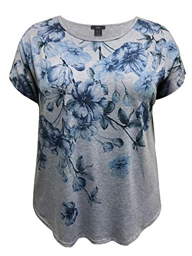 Graphic Spring Tee - LEEBE Plus Size Dolman Short Sleeve Print Top (1X-5X) (5X, Blue Floral Without Stones)