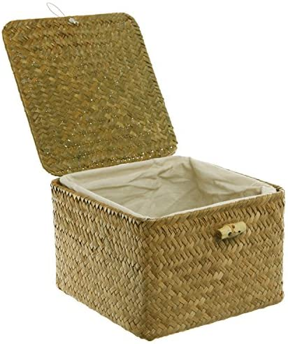 MyGift Brown Hand Woven Rattan Home Storage Basket/Decorative Box with Lid & Removable Fabric Lined Interior