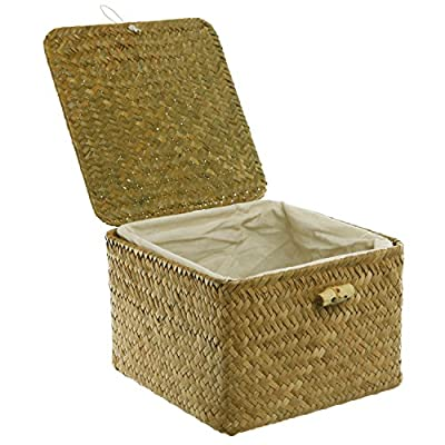 MyGift Brown Hand Woven Rattan Home Storage Basket/Decorative Box with Lid & Removable Fabric Lined Interior - Defeat disorganization with this convenient storage hand woven basket with lining. Comes with a hinged top lid that can be latched shut using the attached elastic band. Perfect to keep loose items organized and looks chic on any shelving. - living-room-decor, living-room, baskets-storage - 51f1 ig0TmL. SS400  -