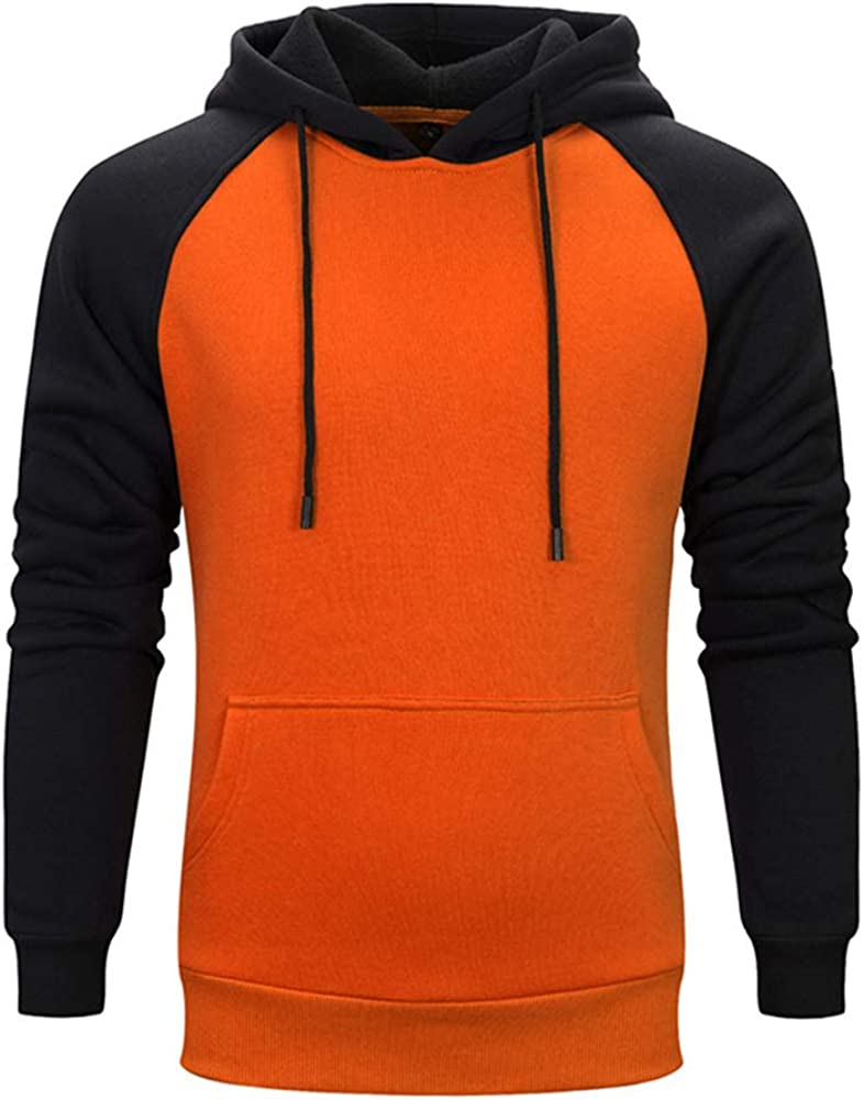Boyland Mens Casual Hoodie Contrast Raglan Fleece Pullover Sweatshirt with Kanga Pocket