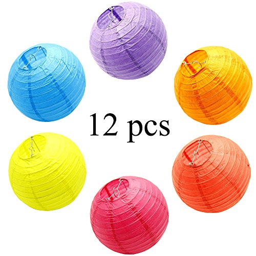 (Paper Lantern Decorations 12 Pcs Colorful Round Hanging Chinese Lanterns for Birthday Weddings Party Decoration,8 inch)