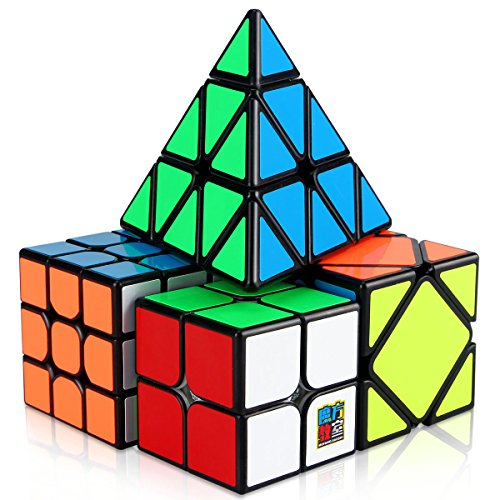 Speed Cube Set, Aitey Cube Bundle 2x2 3x3 Pyramid and Skewb Speed Cube Magic Smooth Cube Puzzle Toy for Kids [4 Pack]