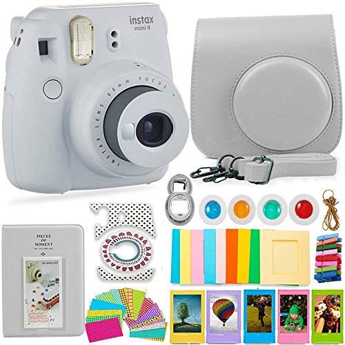 FujiFilm Instax Mini 9 Camera and Accessories Bundle – Instant Camera, Carrying Case, Color Filters, Photo Album, Stickers, Selfie Lens + More (Smokey White)