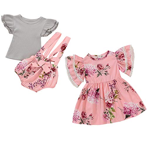 Detigee Baby Girls Matching Sister Outfit Ruffles Sleeve Floral Overall Shorts Sets with Headband (Pink01,0-6 Months)