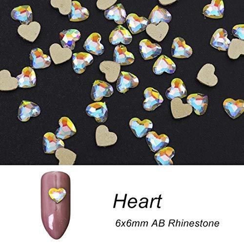 Crystal Shiny 3D Nail Art Rhinestones AB Colorful Horse Eye/Waterdrop/Football/Diamond DIY Decor Charms Heart 6mm