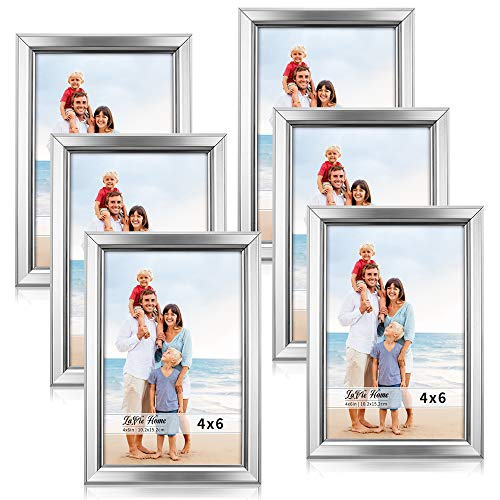 LaVie Home 4x6 Picture Frames (6 Pack, Silver) Simple Designed Photo Frame with High Definition Glass for Wall Mount & Table Top Display, Set of 6 Classic - Silver Frame Photo 6