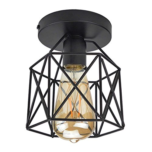 Lysed Semi-Flush Mount Ceiling Light E26/27 Edison Bulb Industrial Vintage Style Black Painting Finish for Hallway Study Room Office Bedroom Decoration Vanity Lights Hanging Light Fixture by Lysed (Image #1)