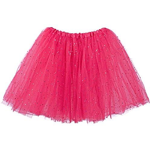 My Lello Big Girls Sparkle Tutu 3-Layer Ballerina (4T-8yr) Hot Pink -