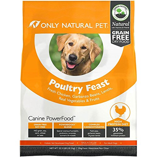 Only Natural Pet Dry Dog Food Canine PowerFood Formula - Made in The USA Paleo Inspired Formula with No Grain, Soy, Corn, Wheat or Oats - Poultry Feast 22.5 lb Bag