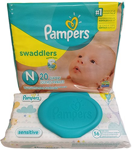Pampers Swaddlers Diapers, Newborn, 20 Count - Pampers Sensitive Wipes Travel Pack 56 Count.