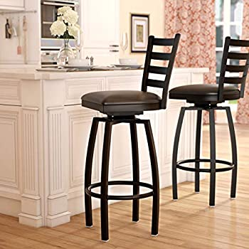 Amazoncom Pemberly Row 32 X Back Swivel Metal Bar Stool In Black
