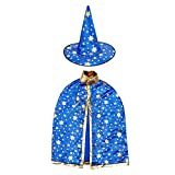 Halloween Witch Wizard Costume Set with Cloak and Hat - Unisex for Kids Cosplay