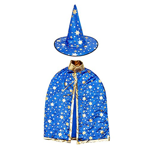 Girls Wizard Costumes (Halloween Witch Wizard Costume Set with Cloak and Hat, Unisex Cape Set for Kids Cosplay (Blue))