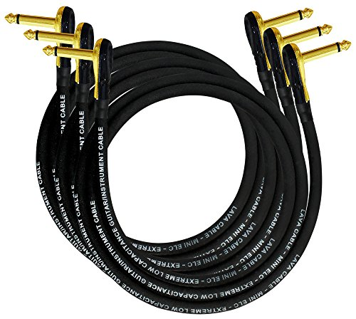 3 Units - Lava Mini ELC (Black) - 3 Foot - Guitar Bass Effects Instrument, Patch Cable with Premium Gold Plated ¼ Foot (6.35mm) Low-Profile, Right Angled Pancake type TS Connectors