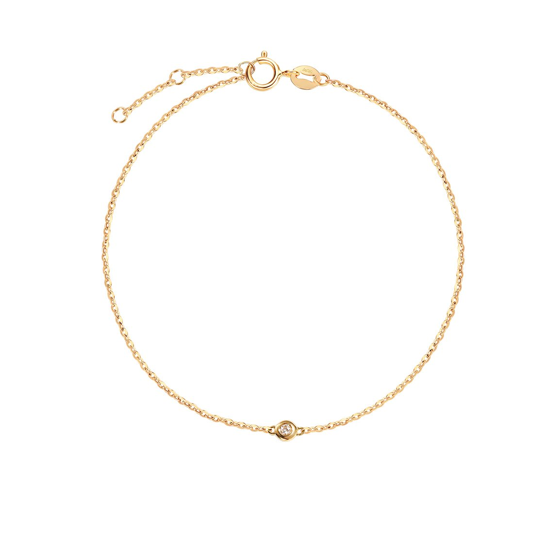 Carleen 18K Solid Gold One Diamond Bracelet Minimalist Dainty Delicate Fine Jewelry for Women Girls (Yellow Gold) by Carleen