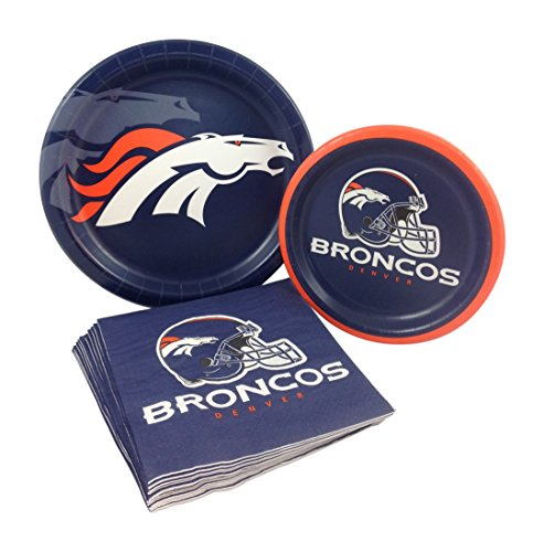 Denver Broncos Party Supplies (Denver Broncos Football Party Supply Pack! Bundle Includes Paper Plates & Napkins for 8 Guests)