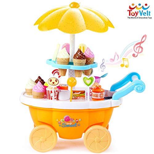 ToyVelt Ice Cream Toy Cart Play Set for Kids - 59-Piece Pretend Play Food - Educational Interactive Ice-Cream Trolley Truck with with Music & Lighting - Perfect Present for Girls -