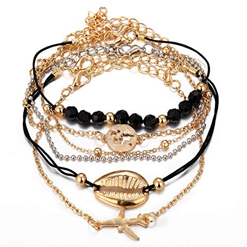 Chain Shell - Black Bead Bohemian Bell Map Natural Stone Crab Beads Charm Bracelets Set for Women Fashion Shell Chain Link Bracelet Female Jewelry Gift