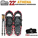 New MTN Man Woman Kid Youth 22'' Red Snowshoes + Free Bag