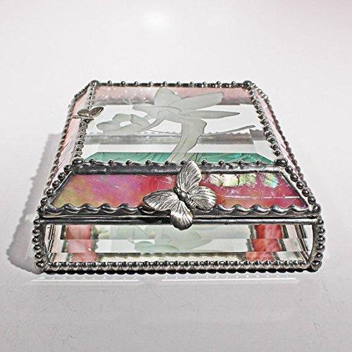 Fairy Stained Glass Jewelry Box, Presentation Box, Keepsake Box, Glass Jewels, Swarovski Crystals, USA Made
