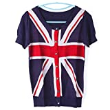british blouse - Hot Classic Women Slim Flag Pattern Short-Sleeved Knit Cardigan Top Blouse UK Flag