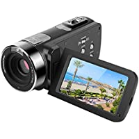 Digital Video Camera 301HS 2.7 FHD Screen DV Camcorder 16X Zoom Digital Video Recorder Night Vision Camcorder With 2 Rechargeable Batteries Control Remote And Support 270 Degree Rotation Black