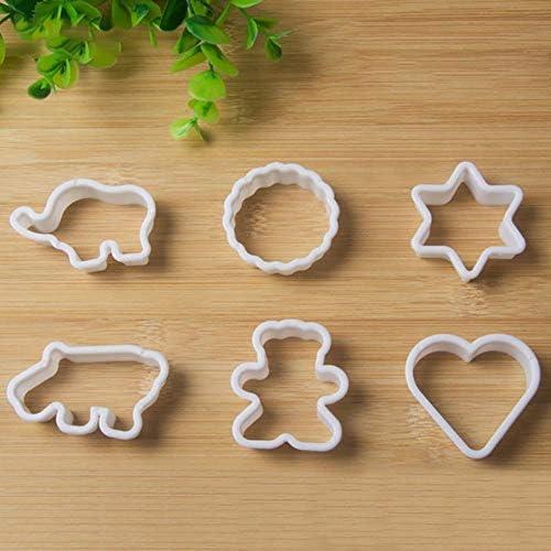 FSHB 6-teiliges Set Schöne Kunststoff-Plätzchenform Cartoon herzförmige Backwerkzeug Kuchenform, weiß