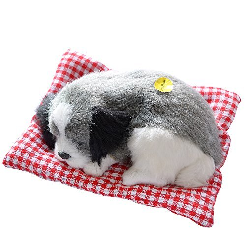 Toonol Vivid Simulation Plush Sleeping Dogs Doll Toy with Sound Kids Toy Birthday Gift Doll Decor Stuffed Puppies Toys Color Gray ()