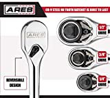 ARES 42000-3-Piece 90-Tooth Full Polish Ratchet Set - Premium Chrome Vanadium Steel Construction & Chrome Plated Finish - Low Profile 90-Tooth Reversible Design with 4 Degree Swing