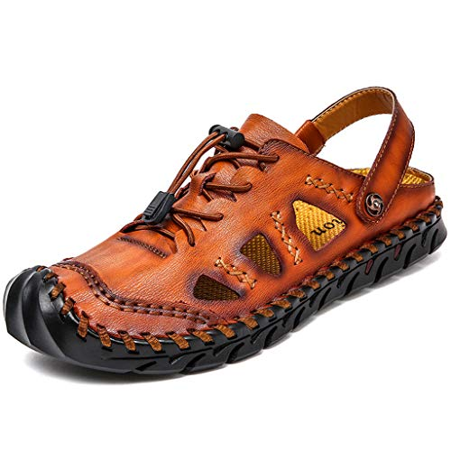 iZHH Men's Sandals,Summer Casual Breathable Large Size Walking Shoes Outdoor Casual Beach Shoes(Brown,10.5) (Prada-outlet-online-shop)