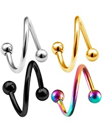 4pcs 16g Spiral barbell Cartilage Earring Lip Tragus Eyebrow Hoop Helix Twisted Bar Surgical Steel Studs 3mm Balls Pick Size