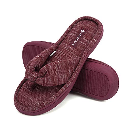 CIOR Fantiny Women's Cozy Memory Foam Spa Thong Flip Flops House Indoor Slippers Home Clog Style-U120MTW017-Pink -42-43