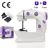 Mini Sewing Machine AKISEY Electric Household Desktop Crafting Mending Machine Portable Double Speed Sewing Machine with Foot Pedal, White and Purple Design for Household Travel Beginner