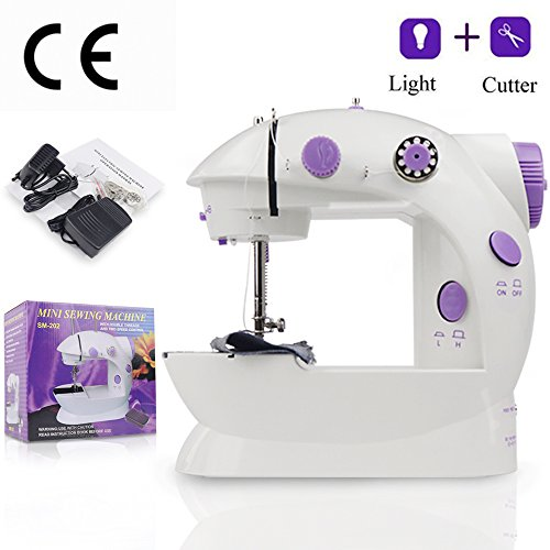 Mini Sewing Machine AKISEY Electric Household Desktop Crafting Mending Machine Portable Double Speed Sewing Machine with Foot Pedal, White and Purple Design for Household Travel Beginner by AKISEY