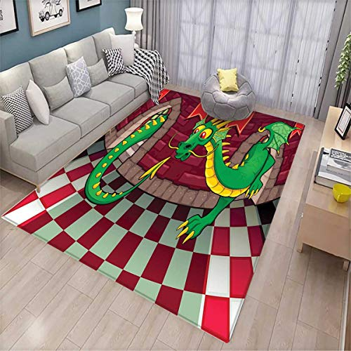 Cartoon Door Mats for Inside Video Game Design Inside The Castle with Dragon Fantasy World Medieval Illustration Bath Mat for tub Bathroom Mat Ruby ()