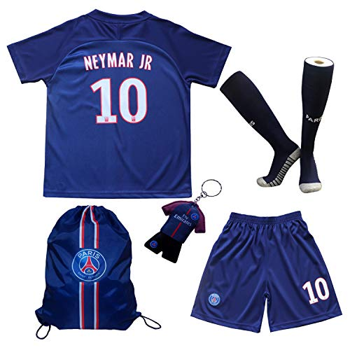 2018/2019 Paris Home #10 Neymar JR. Football Futbol Soccer Kids Jersey Shorts Socks Set Youth Sizes (7-8 Years)