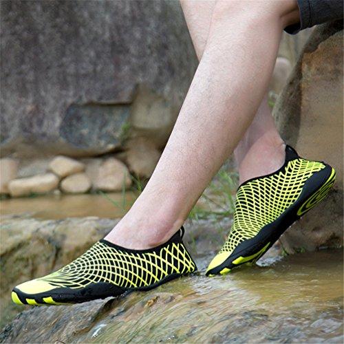 para secado Zapatillas deporte yoga con Sandalias drenaje Natación Zapatos rápido Agua de Buceo de Surf Hombres Mujeres de Amarillo agujeros Aqua deportivas playa UBFEN Zapatillas En la HUz0q0