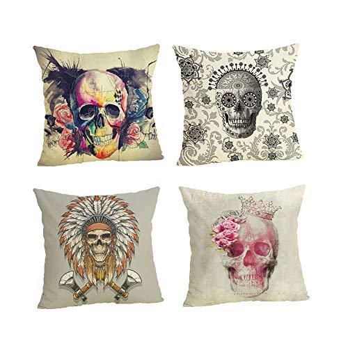 RICHEE-NL Skull Throw Pillow Cover Cushion Case Halloween Linen Sofa Decor, D/4 Pcs
