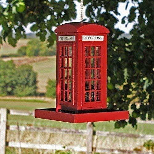 Garden mile® Unique Red Telephone Box Hanging Bird Feeder, Garden Bird Feeding Station Bird Table Bird Seed Feeder Or Nut Feeder Decorative Garden Ornament
