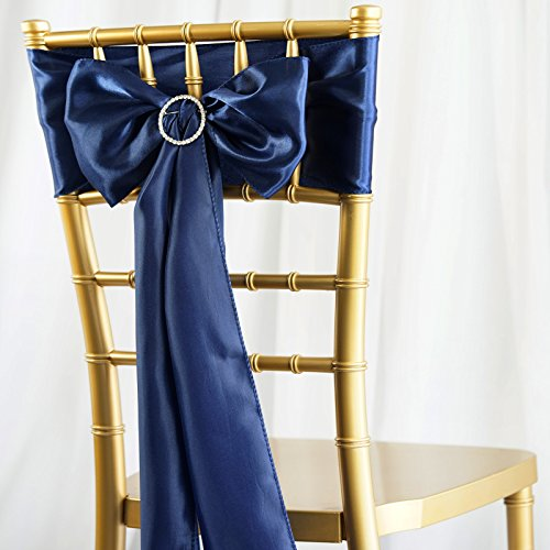BalsaCircle 50 Navy Blue Satin Chair Sashes Bows Ties for Wedding Party Ceremony Reception Event Decorations Supplies - Party Sash Chair